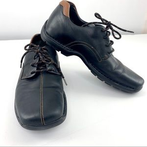 Cole Haan Black Leather Zeno Lace Up Oxford Loafer